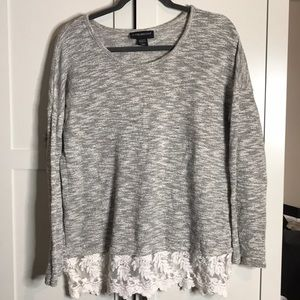 Lane Bryant Grey and Lace Blouse 14/16